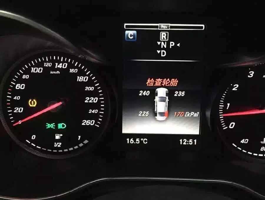 大众胎压报警标志图片_奔驰glc胎压监测指示灯,奔驰glc怎么看胎压_车主指南